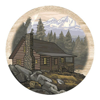 Mountain Cabin Sandstone Beverage Coasters by Paul Lanquist, Set of 8