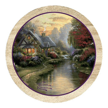 A Quiet Evening Sandstone Beverage Coasters by T. Kinkade, Set of 8