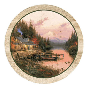 The End of a Perfect Day Sandstone Coasters by T. Kinkade, Set of 8