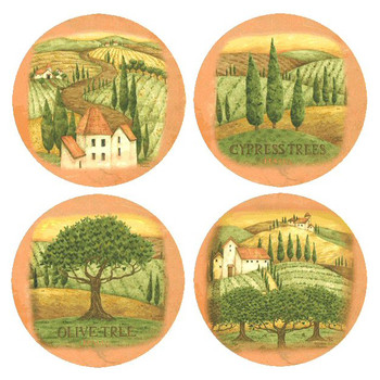 Tuscany Assorted Set Round Beverage Coasters by Debbie Mumm, Set of 8