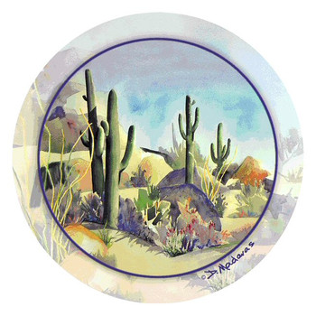 Over the Rainbow Cactus Scene Round Coasters by D. Madaras, Set of 8