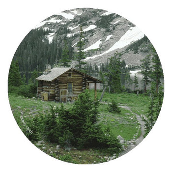Mountain Cabin Round Beverage Coasters by Larry Ulrich, Set of 8