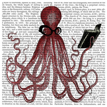 Intelligent Octopus Print Absorbent Beverage Coasters, Set of 12