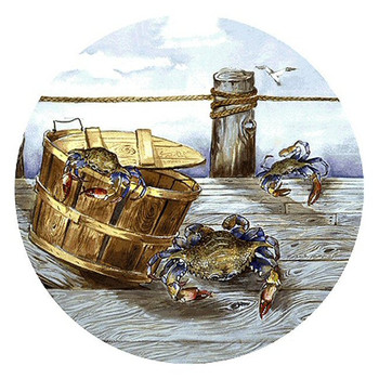Blue Crabs on a Pier Sandstone Coasters by Anita Phillips, Set of 8
