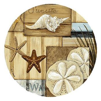 At the Beach II Sand Dollar & Starfish Coasters by D. Davis, Set of 8