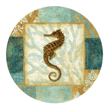 Aqua Seahorse Sandstone Beverage Coasters by Eleanor Rahim, Set of 8