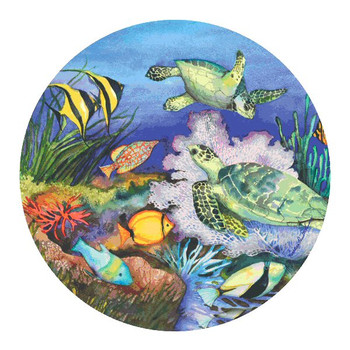 Sea Turtles Sandstone Coasters by Kathleen Parr McKenna, Set of 8