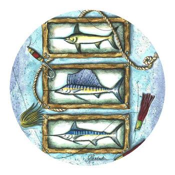 Sports Fish Trio Sandstone Coasters by Stephanie Lavender, Set of 8