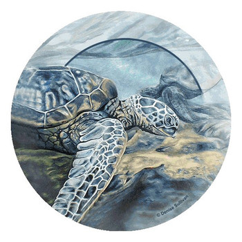 Kona Sea Turtles Round Beverage Coasters by Denise Sullivan, Set of 8