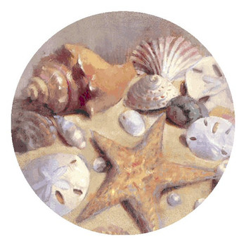 Sea Shells and Starfish Absorbent Round Beverage Coasters, Set of 8