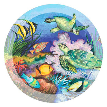 Green Sea Turtles Round Coasters by Kathleen Parr McKenna, Set of 8