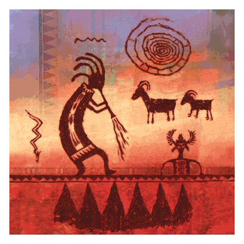 Kokopelli Petroglyph Absorbent Beverage Coasters, Set of 8