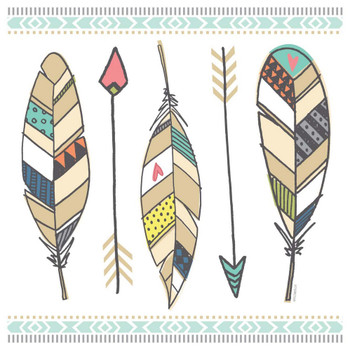 Navajo Spirit Feathers Absorbent Beverage Coasters, Set of 12