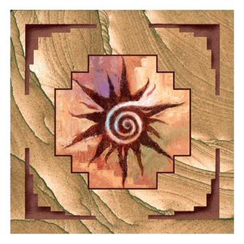 Southwest Spiral Sun Cinnabar Sandstone Beverage Coasters, Set of 8