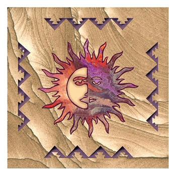 Southwest Sun Moon Cinnabar Sandstone Beverage Coasters, Set of 8