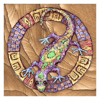 Whimsical Gecko Cinnabar Sandstone Beverage Coasters, Set of 8