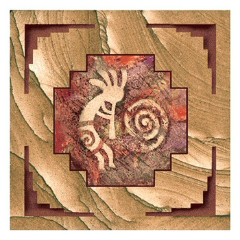 Southwest Stylized Kokopelli Cinnabar Sandstone Coasters, Set of 8