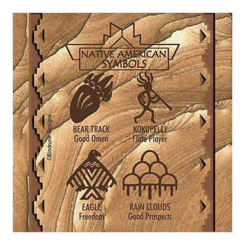 Native American Symbols I Cinnabar Sandstone Coasters, Set of 8