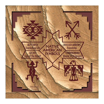 Native American Symbols II Cinnabar Sandstone Coasters, Set of 8