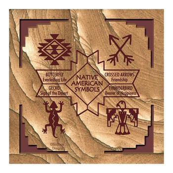Native American Symbols II Cinnabar Sandstone Coasters, Set of 8