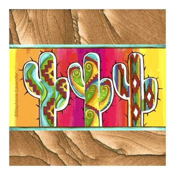 Saguaro Cactus Trio Sandstone Coasters by Stephanie Lavender, Set of 8