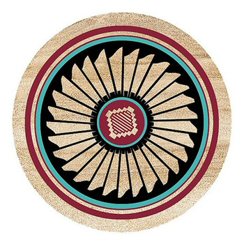 Indian Feather Sandstone Round Beverage Coasters, Set of 8