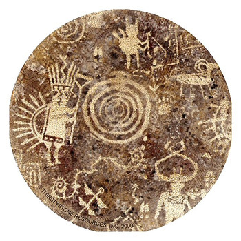 Petroglyph Sandstone Round Beverage Coasters, Set of 8