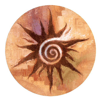 Spiral Sun Sandstone Round Beverage Coasters, Set of 8