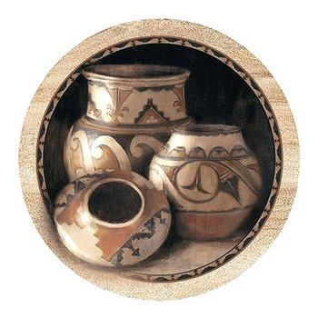 Three Pots Sandstone Round Beverage Coasters, Set of 8