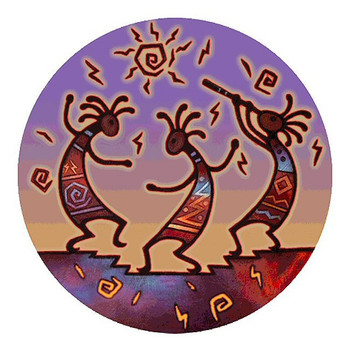 Kokopelli Dance Sandstone Round Beverage Coasters, Set of 8