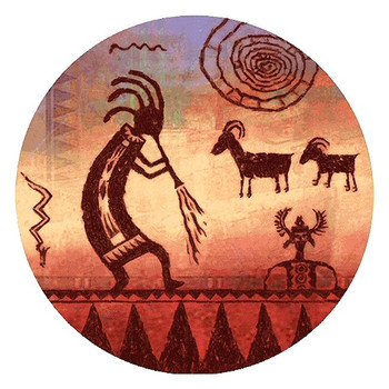 Kokopelli Petroglyph Sandstone Round Beverage Coasters, Set of 8