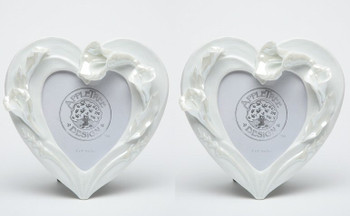 Calla Lily Flower Heart Porcelain Picture Frame, Set of 2