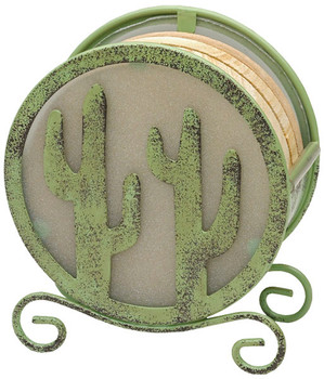 Banded Swirl Sandstone Coasters with Saguaro Metal Holder, Set of 10