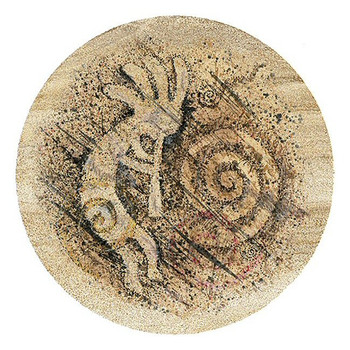 Stylized Kokopelli Sandstone Round Beverage Coasters, Set of 8