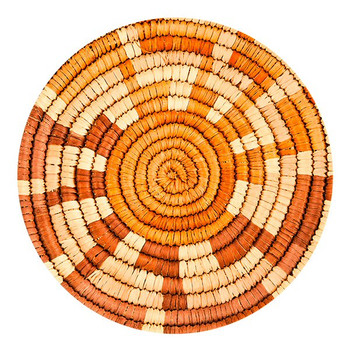 Southwest Woven Pattern Sandstone Round Beverage Coasters, Set of 8