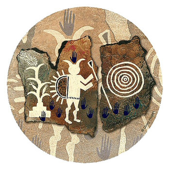 Corn Ceremony Sandstone Round Coasters by Ginny Hogan, Set of 8