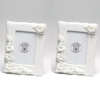 Rose Porcelain Photo Frame, Set of 2