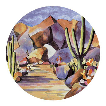Gold in the Hills Sandstone Round Coasters by Diana Madaras, Set of 8
