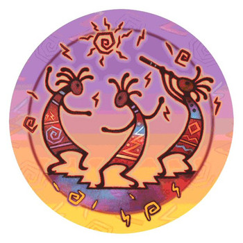 Kokopelli Dance Absorbent Round Beverage Coasters, Set of 8