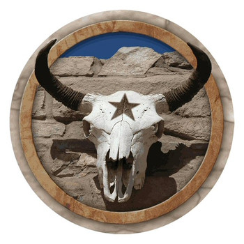 Cow Skull with Western Star Round Beverage Coasters, Set of 8