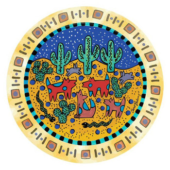 Desert Night Round Beverage Coasters by Chris Bubany, Set of 8