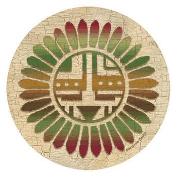 Traditional Sunburst Round Coasters by Bindrune Design, Set of 8