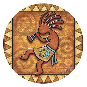 Kokopelli Absorbent Round Beverage Coasters by Dan Morris, Set of 8