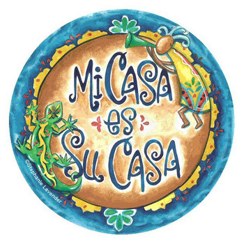 Mi Casa es Su Casa Round Coasters by Stephanie Lavender, Set of 8