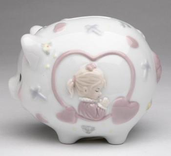 Piggy Bank with Girl Praying Porcelain Bank
