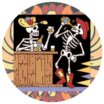 Cowboy Skeletons Beverage Coasters by Hand N Hand Designs, Set of 12