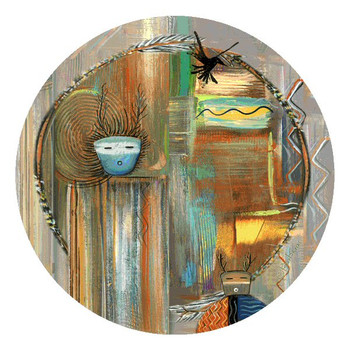 Southwest Collage Round Beverage Coasters by Robert Shields, Set of 12