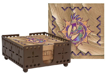 Southwest Sun Dancer Sandstone Coasters with Steel Holder, Set of 10
