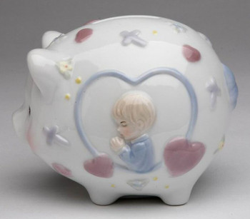 Piggy Bank with Boy Praying Porcelain Bank