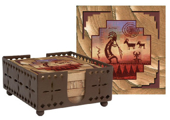 Kokopelli Petroglyph Sandstone Coasters with Steel Holder, Set of 10